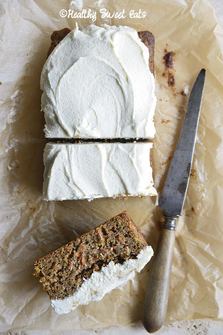 Loaf of Keto Carrot Cake with Slices