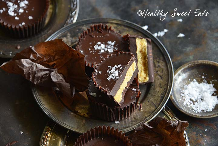 Plate of Low Carb Chocolate Peanut Butter Cups with Sea Salt
