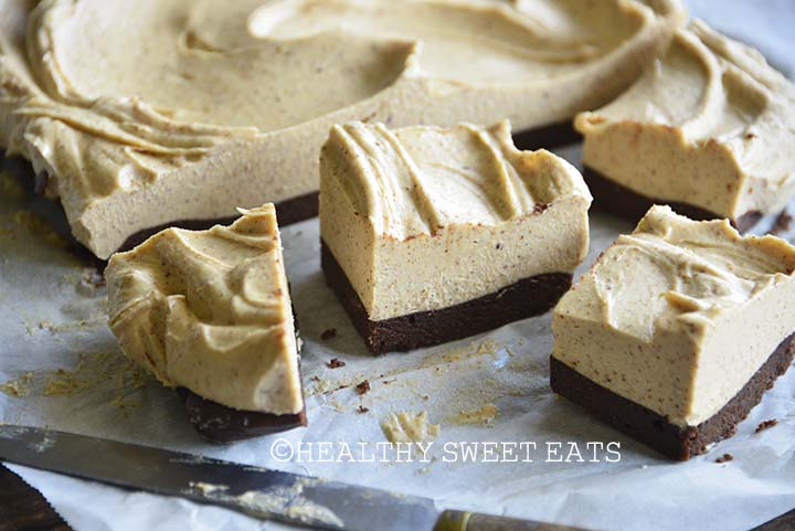 Close Up of Cheesecake Peanut Butter Brownies