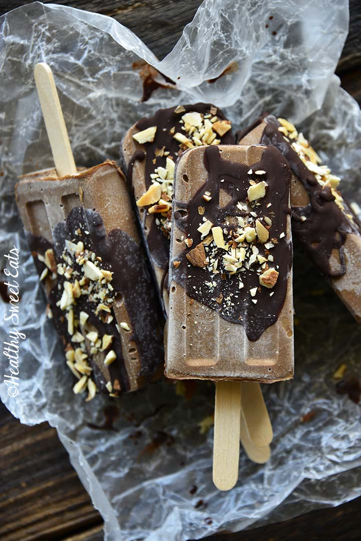 Pile of Fudgsicles (aka Chocolate Popsicles or Fudge Pops) on Wax Paper