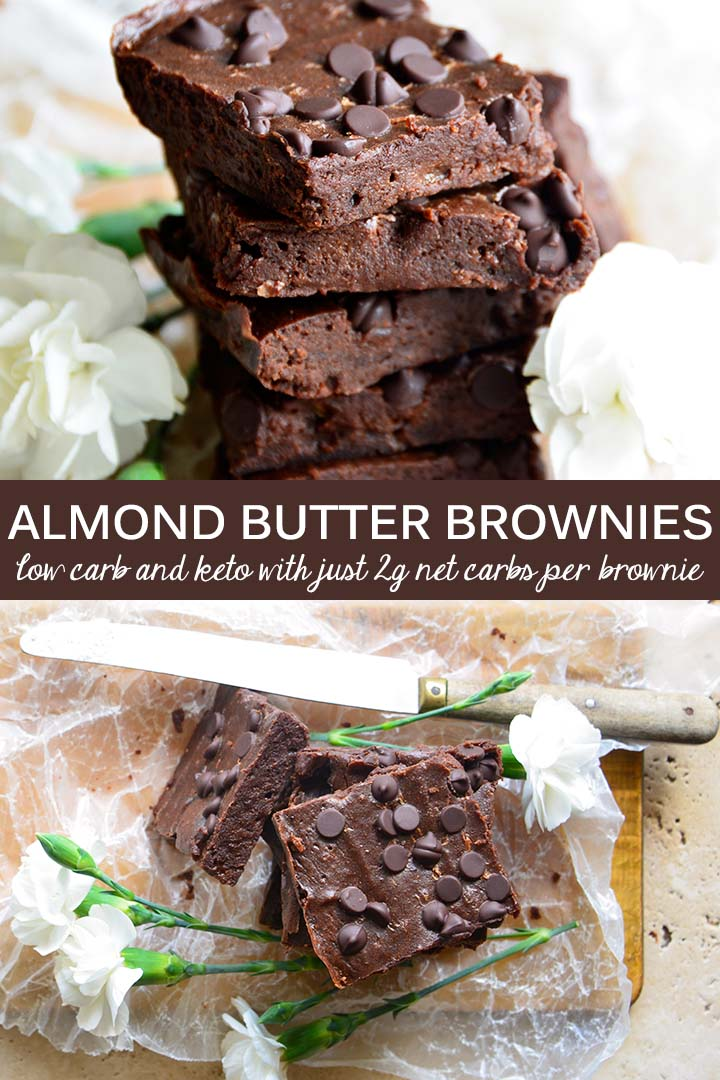 Almond Butter Brownies are rich, fudgy, and deeply chocolaty! You'll be surprised that the batter has half a cup of almond butter because you can't taste it. Each brownie has just 2g net carbs per serving! #lowcarb #keto #glutenfree