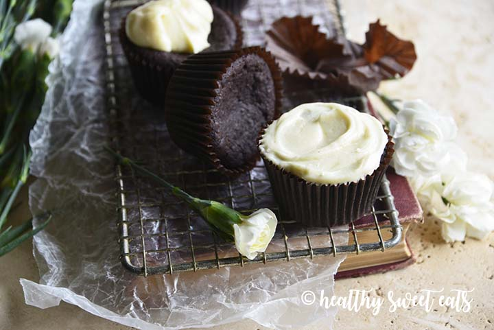 Low Carb Devil's Food Cake Cupcakes on Cooling Rack