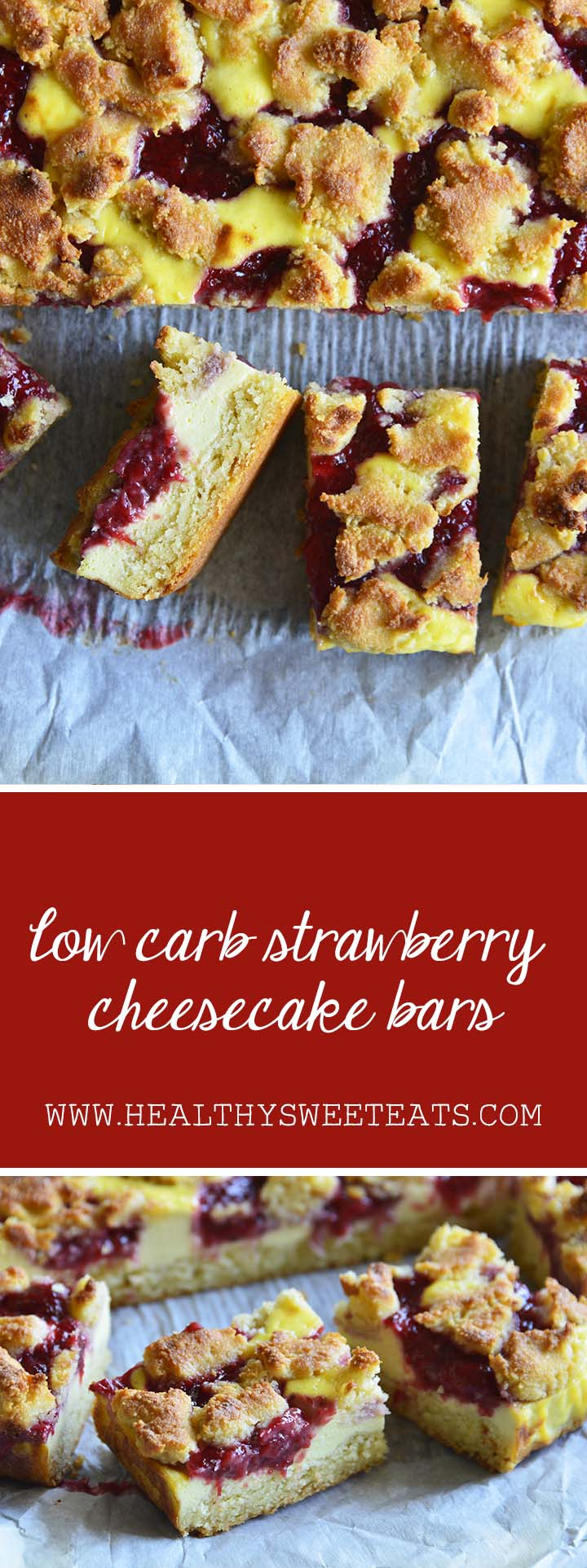 Low Carb Strawberry Cheesecake Bars Pin