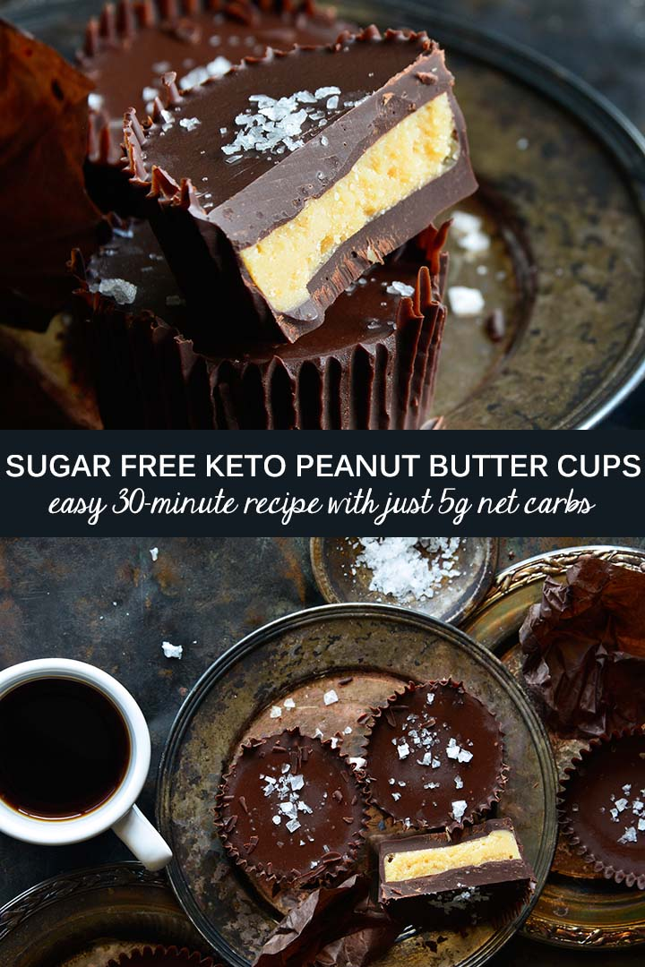 If you're a Reese's Peanut Butter Cup lover, this #SugarFree #Keto Chocolate Peanut Butter Cups recipe is for you! Dark chocolate + rich peanut butter are a classic pairing, and a little flaky sea salt intensifies the flavors. #lowcarb
