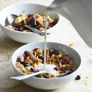 Pouring Milk Into Bowl of Grain Free Granola