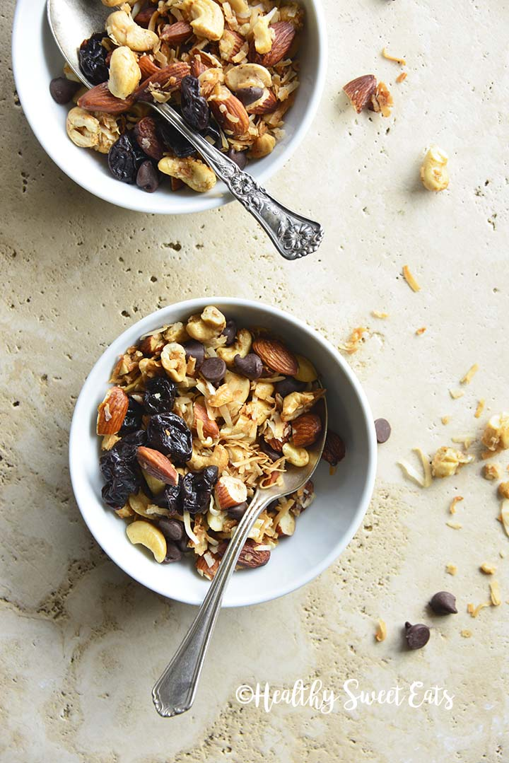 Overhead View of 2 Bowls of Grain Free Granola with Cherries, Coconut, and Chocolate Chips