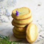 Front View of a Stack of Keto Orange Shortbread Cookies with Fern in Foreground
