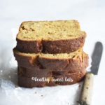 Stack of Sliced Low Carb Apple Bread Recipe on White Marble Counter