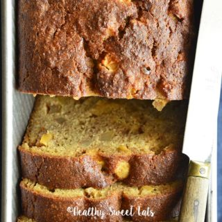 Close Up Top View of Low Carb Apple Bread in Loaf Pan