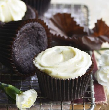 Low Carb Devil's Food Cake Cupcakes with Crème Fraiche Frosting
