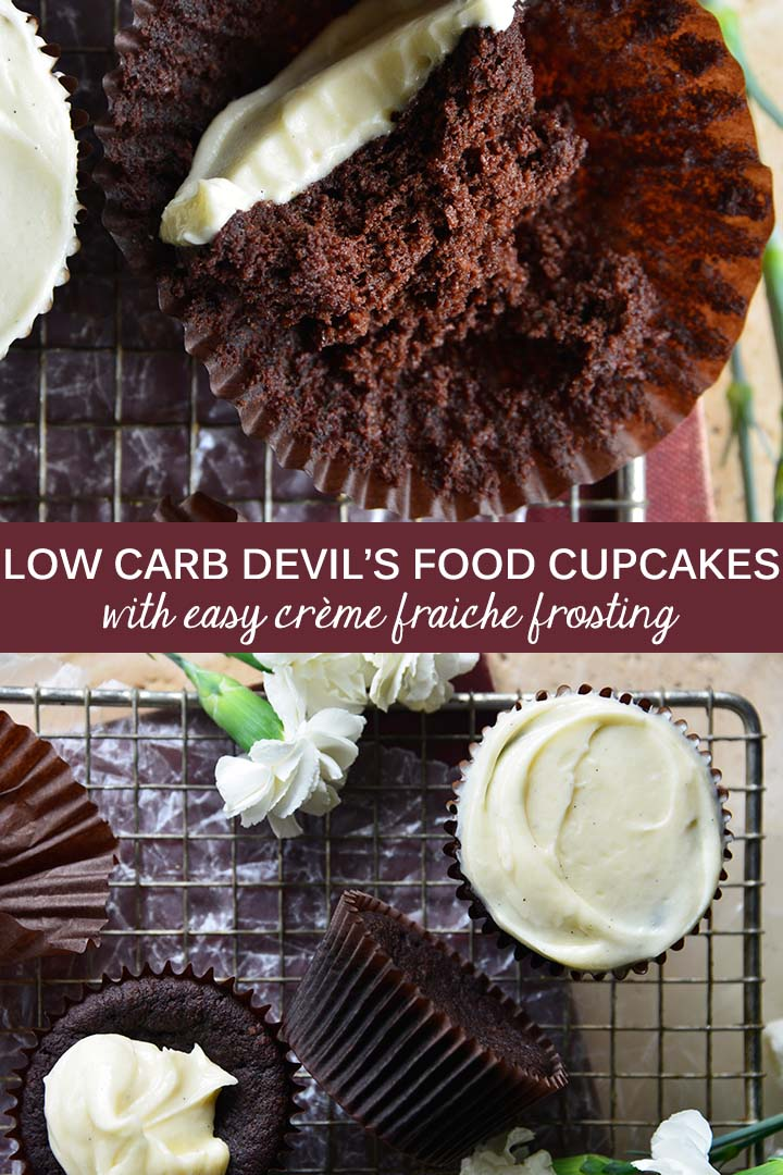 #LowCarb Devil's Food Cake Cupcakes with Crème Fraiche Frosting are light, fluffy, and deeply chocolaty with a slightly tangy, rich, and creamy frosting. #keto #glutenfree