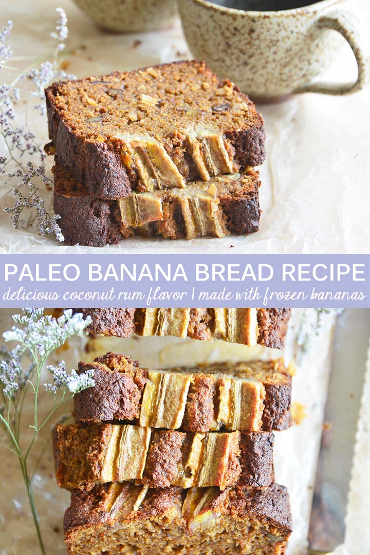 This Coconut Rum #Paleo Banana Bread Recipe uses frozen bananas, and is moist and tender with a tropical banana bread twist. #glutenfree
