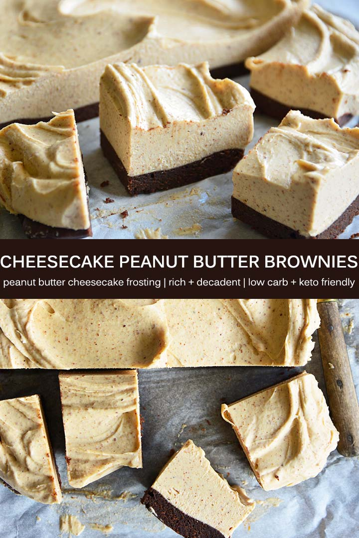 This decadent Cheesecake Peanut Butter Brownies recipe has a rich chocolate base and is topped with creamy no-bake peanut butter cheesecake. #lowcarb #keto #glutenfree