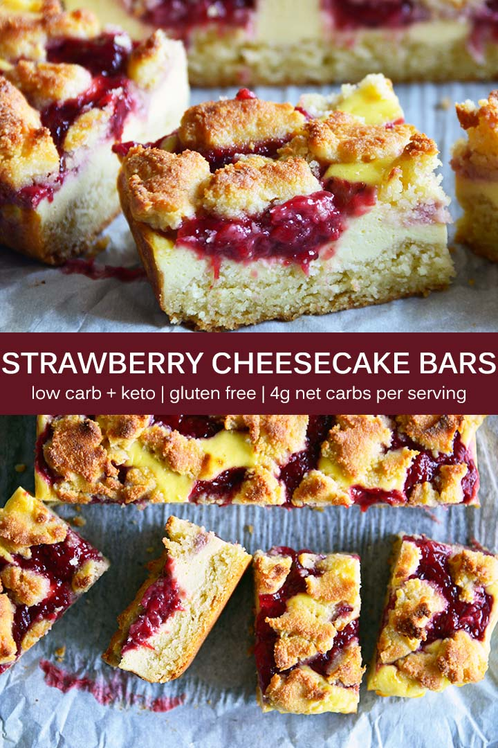 These #LowCarb Strawberry Cheesecake Bars have no added sugar, and feature a vanilla cake-like crust with cheesecake filling and strawberry swirl topping. #keto #glutenfree