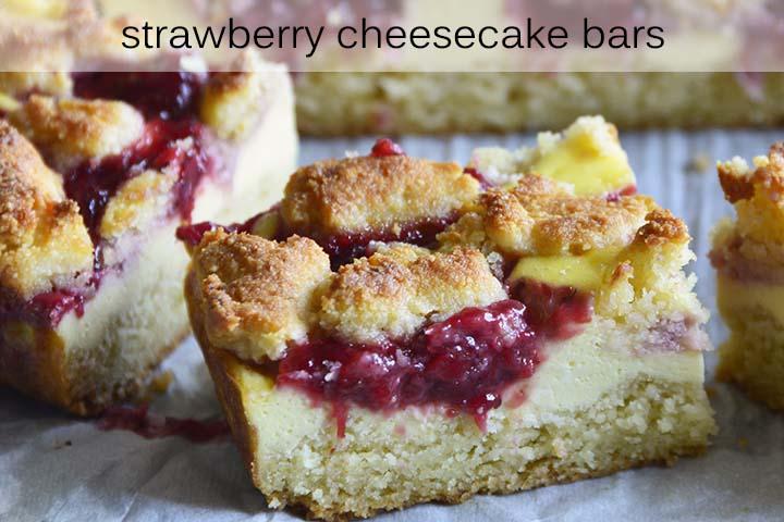 Strawberry Cheesecake Bars with Description