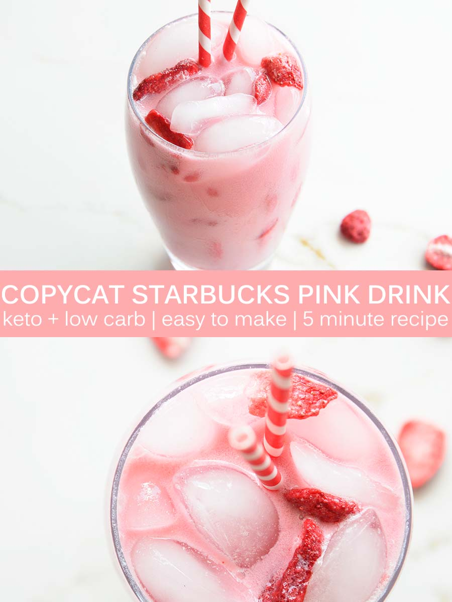 Flavored with passion fruit, strawberry, coconut milk, and a hint of vanilla, you'll love this homemade Copycat #Keto Starbucks Pink Drink Recipe every bit as much as the version at Starbucks. And making it yourself will save you money! #lowcarb #vegan