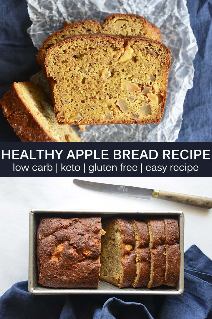 This moist #LowCarb Apple Bread Recipe has flavorful bursts of fresh apple, is laced with cinnamon and nutmeg, and is slightly aromatic with vanilla. #keto #glutenfree