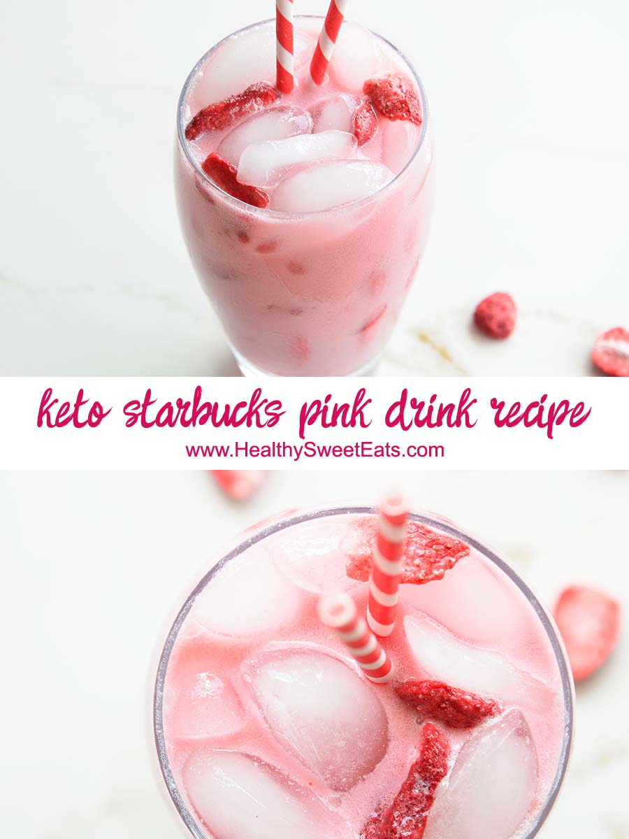 Flavored with passion fruit, strawberry, coconut milk, and vanilla, you'll love this #keto Starbucks Pink Drink Copycat recipe every bit as much as the original! #lowcarb