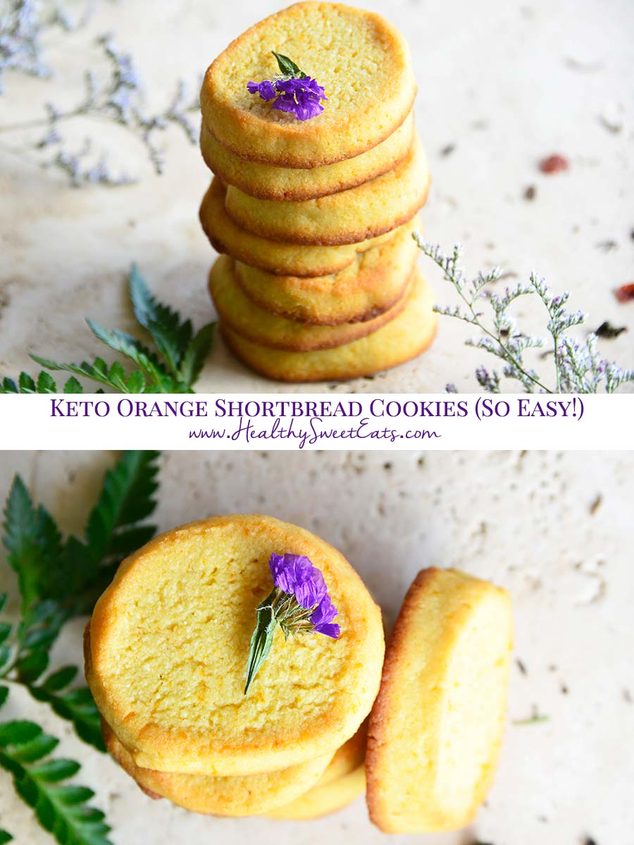 These Keto Orange Shortbread Cookies are crisp, subtly sweet, aromatic with vanilla and orange, and perfect for pairing with a cup of tea. #lowcarb #lchf