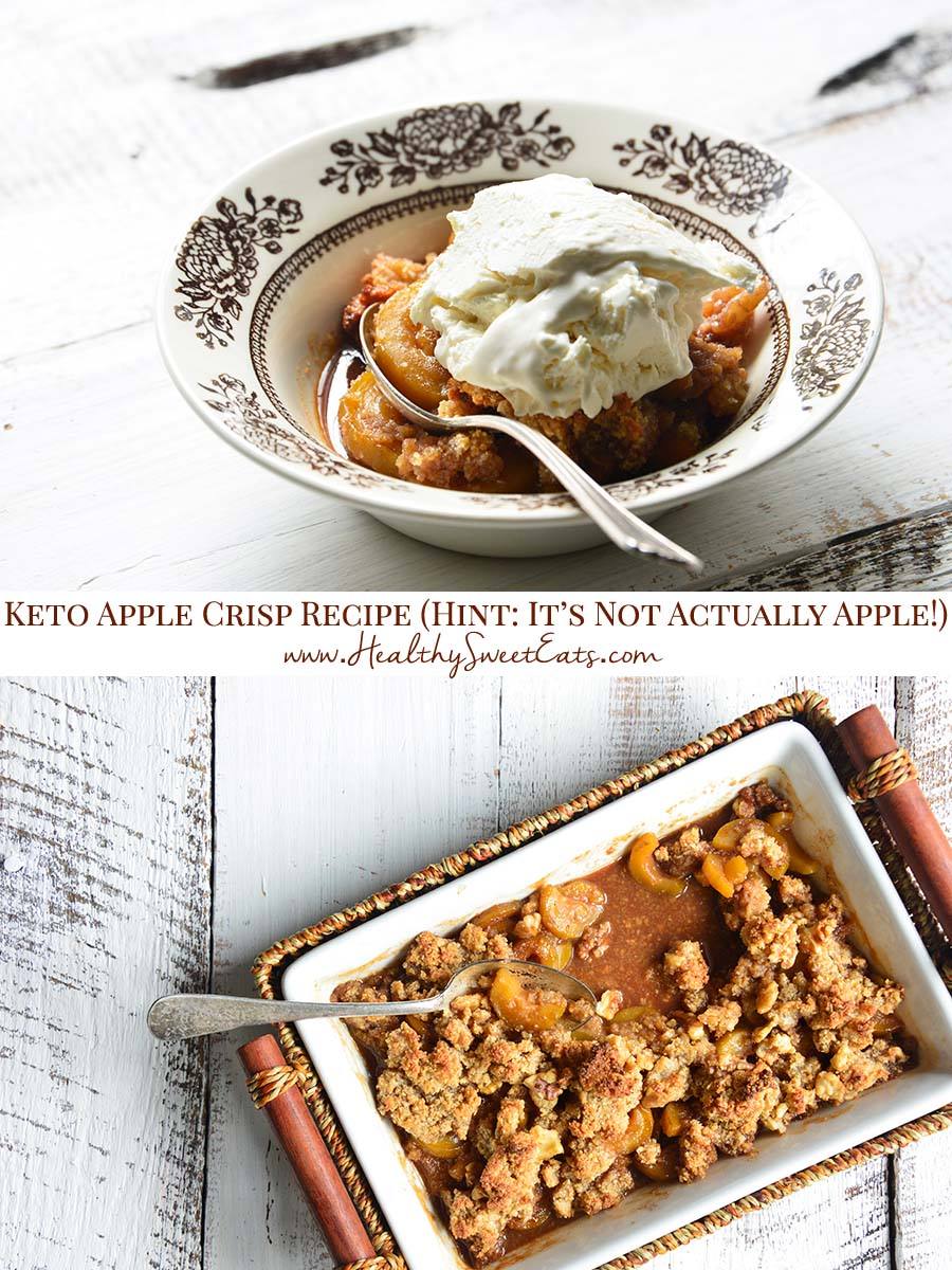 This #Keto Apple Crisp has a sweet, juicy, and aromatic cinnamon-spiced apple filling, topped with a nutty crumble topping. It's the stuff your fall dessert dreams are made of! (Hint: It's not apple!)