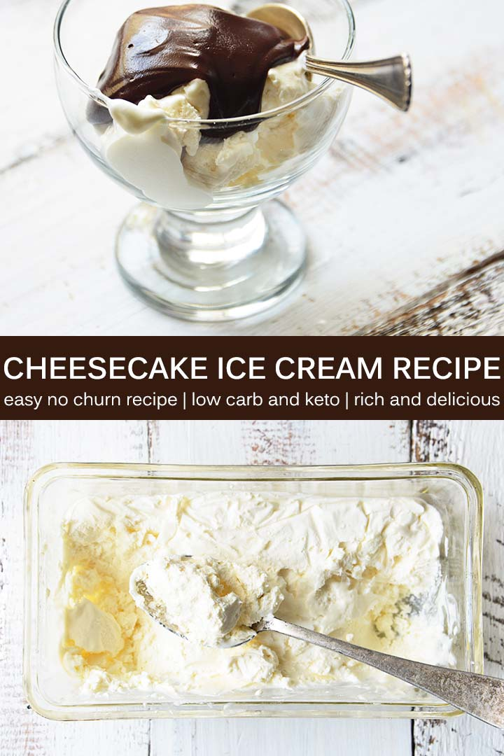Get ready for flavorful, rich, and creamy NO CHURN #lowcarb Cheesecake Ice Cream! This recipe is as easy to make as it is delicious, and it has less than 2g net carbs per serving. #keto #lchf
