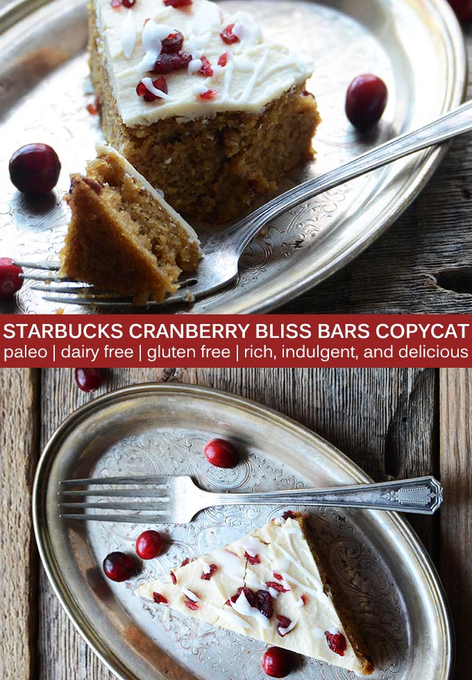 This #paleo Starbucks Cranberry Bliss Bars Copycat Recipe features a vanilla and orange cake that's studded with cranberries and topped with a rich coconut frosting. #glutenfree #dairyfree