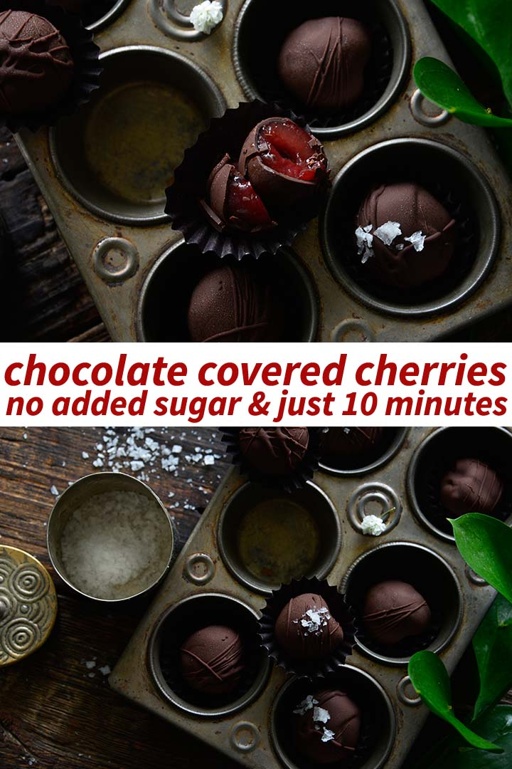 This Chocolate Covered Cherries recipe pairs juicy sweet cherries and dark chocolate with no added sugar, and whips up in just 10 minutes!