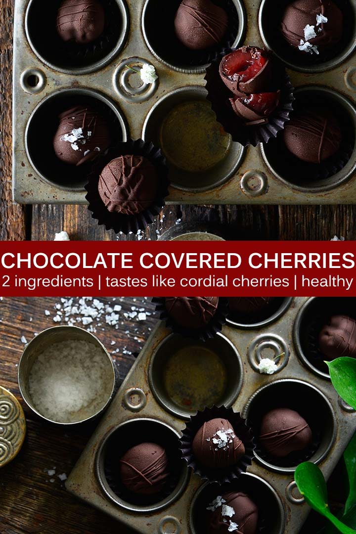 This Chocolate Covered Cherries recipe pairs juicy sweet cherries and dark chocolate with no added sugar, and whips up in just 10 minutes! #paleo #vegan #lowcarb #glutenfree