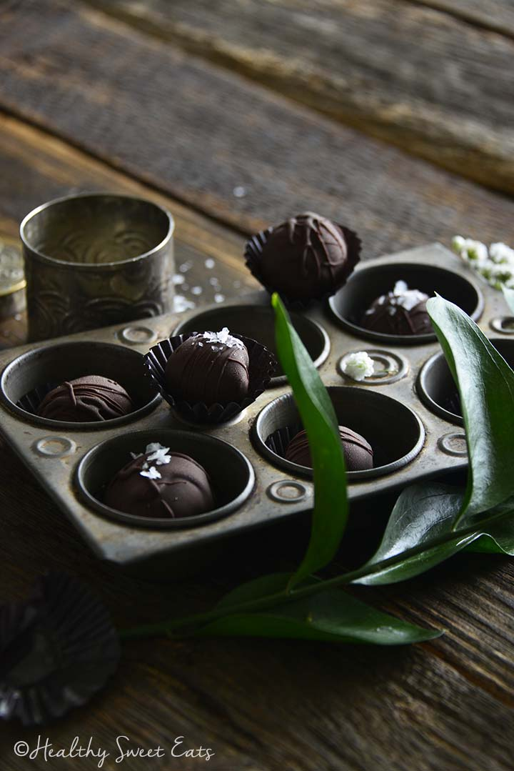 Front View of Healthy Cherry Cordials on Wood Table