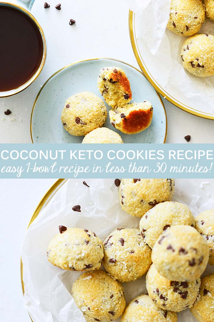 This Coconut #Keto Cookies Recipe yields cookies that are crispy outside and chewy inside with rich coconut vanilla flavor and sweet bursts of chocolate. #lowcarb #lchf #glutenfree