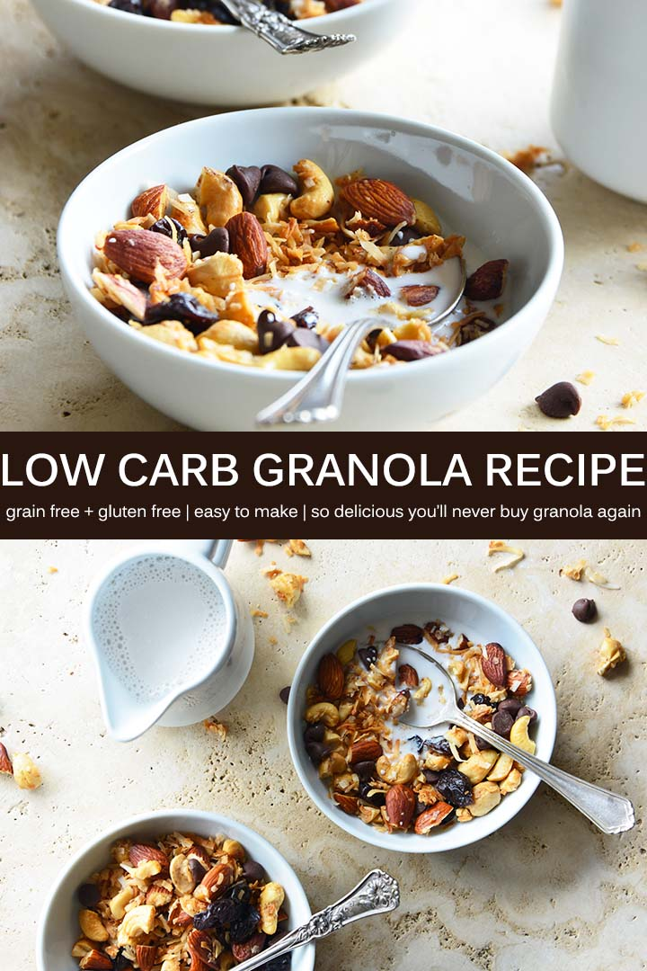 This #LowCarb #GrainFree Granola Recipe uses a mix of nuts and coconut flakes for texture and crunch, and cherries and chocolate make it perfect for dessert or breakfast. #glutenfree #vegan