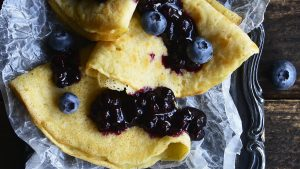 Gluten Free Crepes with Blueberry Sauce