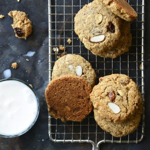 Paleo Noatmeal Cookies with Glass of Milk