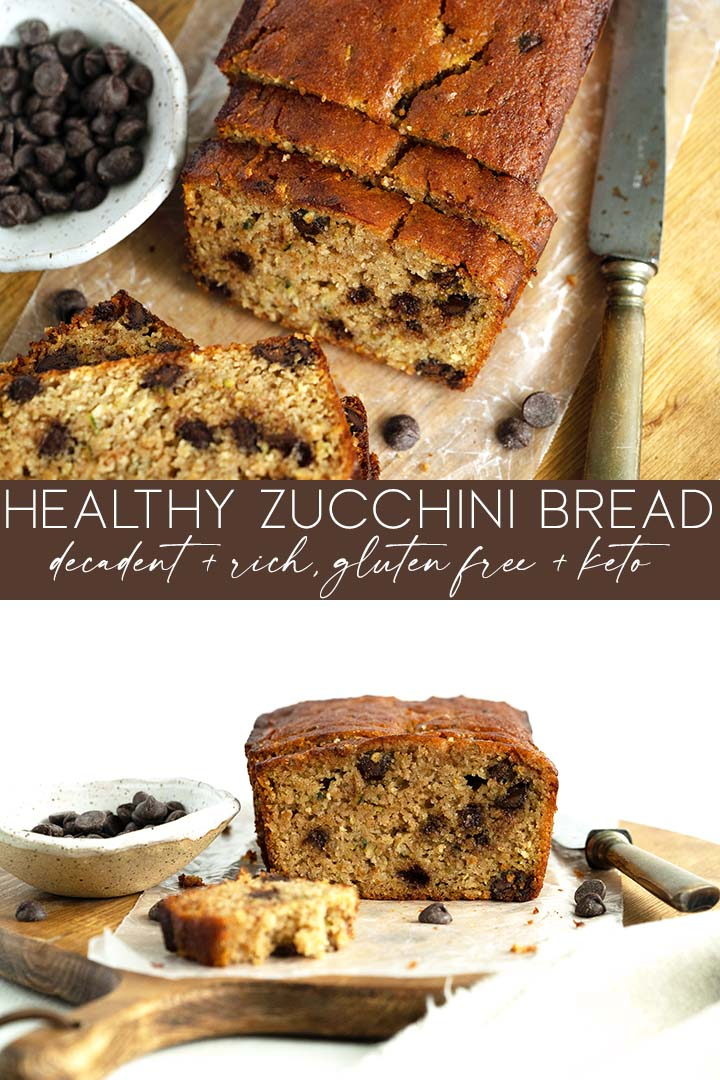 This soft, moist, #glutenfree and #keto Zucchini Bread is flavored with a hint of cinnamon, vanilla, and brown sugar; you'd never guess it's healthy!
