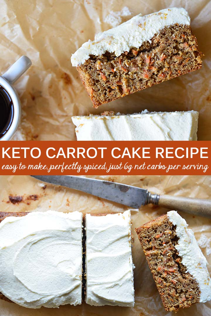 #Keto Carrot Cake is richly spiced with a moist crumb, just the right amount of carrot, and a luscious cream cheese frosting to top it off. #lowcarb #glutenfree