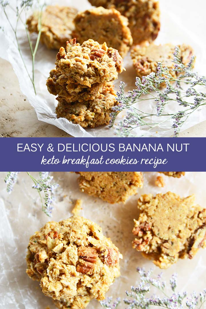 Banana Nut #Keto Breakfast Cookies are vanilla and banana-scented, cinnamon-spiced, and full of nutritious ingredients, including hemp seed hearts, eggs, coconut flakes, flaxseed meal, and almond flour. #lowcarb
