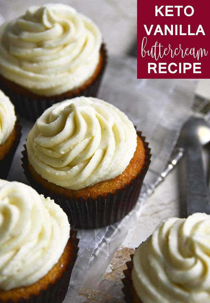 keto vanilla buttercream frosting recipe graphic